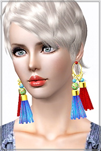 Statement tassel earrings, 4 recolorable zones, custom thumbnails, new custom mesh, base game compatible