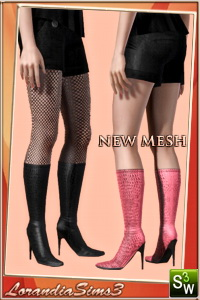 High crocodile boots for your sims 3 female wardrobe. 2 recolorable areas, 3 color variations, custom thumbnails, custom mesh by Lorandia Sims 3