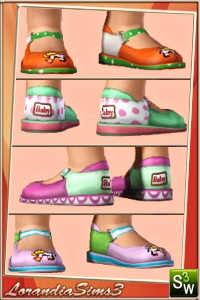 Cow applique shoes for your sims 3 toddlers wardrobe. 3 recolorable areas, 4 color variations in the same pack, custom CAS and launcher thumbnails
