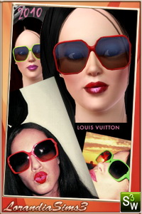 Luis Vuitton inspired sunglasses for youir sims 3 females. 2 recolorable areas, 3 color variations, custom mesh by LorandiaSims3
