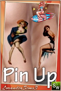 American style Pin Up tattoos for your sims 3 females and males. Semirecolorable, 3 styles 2 tattoos each, custom thumbnails