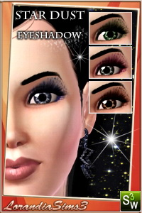Eyeshadow from Star Dust makeup collection for your sims 3 female. Recolorable, custom cas and launcher thumbnails, sims3 pack and package