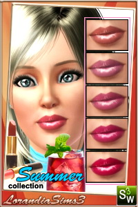 Lipstick from Summer collection for your sims 3 females and males, teen to elder. 2 recolorable areas,  sims3 pack and package, custom thumbnails