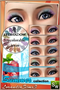 Eyeshadow from Summer makeup collection for your sims 3 female. 3 recolorable zones, custom thumbnails, sims3 pack and package