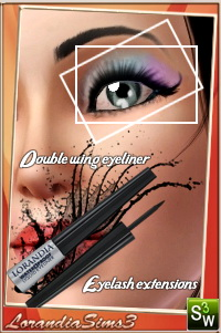 Double Wing Eyeliner for your sims 3 females and males from teen to elders. Custom cas and launcher thumbnails, sims3pack and package