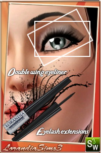 Double Wing Eyeliner 1 for your sims 3 females and males from teen to elders. Custom cas and launcher thumbnails, sims3pack and package
