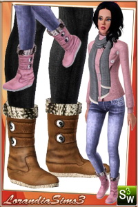 Fur boots for your sims 3 females, 3 recolorable areas, 3 color variations, custom thumbnails, custom mesh by LorandiaSims3