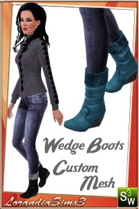 Wedge boots for your sims 3 female casual and formal wardrobe. 3 recolorable areas, 3 color variations, custom thumbnails, custom mesh