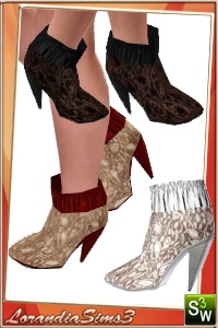 Lace Heels for your sims3 females. 3 recolorable areas, 3 color variations in the same pack, custom thumbnails, custom mesh by Lorandia Sims 3