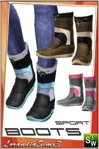 Sport boots for your sims 3 females casual and athletic wardrobe. 3 recolorable areas, 3 color variations, custom mesh by Lorandia Sims3