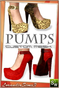 High heel platform pumps for your sims 3 females. 3 recolorable areas, 3 color variations, custom thumbnails, new custom mesh by LorandiaSims3