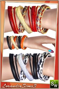 Bracelet for your sims 3 females. 3 recolorables areas, 3 color variations, custom thumbnails, new custom mesh by Lorandia Sims3