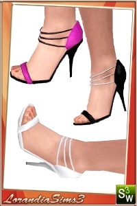 High heel sandals with 3D straps. 3 recolorable areas, 3 color variations, custom cas and launcher thumbnails, custom mesh by Lorandia Sims3