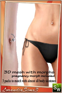 Belly ring - 3d mesh with morphs, pregnancy morphs included. 2 recolorable areas, 3 packs to match with almost all the body skintones.
