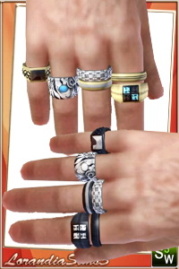 Multiple rings for your sims 3 males in 2 packs for both hands. 4 recolorable areas, 3 color variations, custom thumbnails, custom mesh