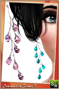 Crystal earrings for your sims 3 females. 3 recolorable areas, 3 color variations, custom thumbnails, custom mesh by Lorandia Sims3