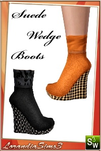 Suede Wedge Boots for your sims 3 females. 3 recolorable areas, 2 color variations, custom thumbnails, new custom mesh by Lorandia Sims 3