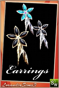Earrings - in 4 recolorable areas, 3 color variations, custom thumbnails, new custom mesh by Lorandia Sims3
