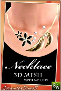 Necklace 3d mesh with morphs - in 4 recolorable areas, 3 color variations, custom thumbnails, new custom mesh by Lorandia Sims3