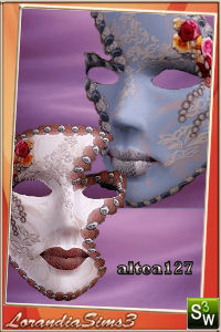 Venetian mask with flowers and lace for your sims 3 females. Recolorable, custom cas and launcher thumbnails.