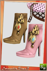 Ankle boots with bow and applications, 3 recolorable areas, 2 color variations, custom cas and launcher thumbnails.