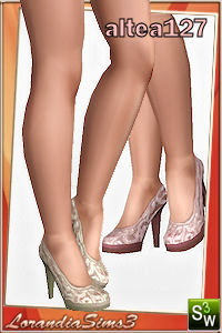 Elegant high heel lace shoes for everyday and formal wardrobe. Custom cas and launcher thumbnails, recolorable in 3 areas, custom mesh by Altea127