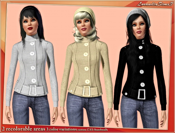 Button front belted coat featuring hardware and button tab accents for your sims3 female outwear wardrobe. 2 recolorable areas, 3 color variations