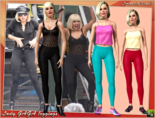 Lady GAGA fashion ! Leggings for your sims3 female wardrobe. Recolorable, 3 color variations in the same pack, custom CAS thumbnails.