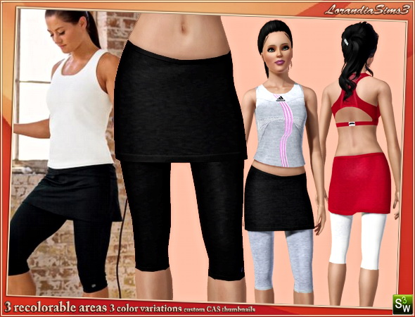 Performance fitting capri hits below the knee under a semi fitted skirt by Mirel at Lorandia Sims 3