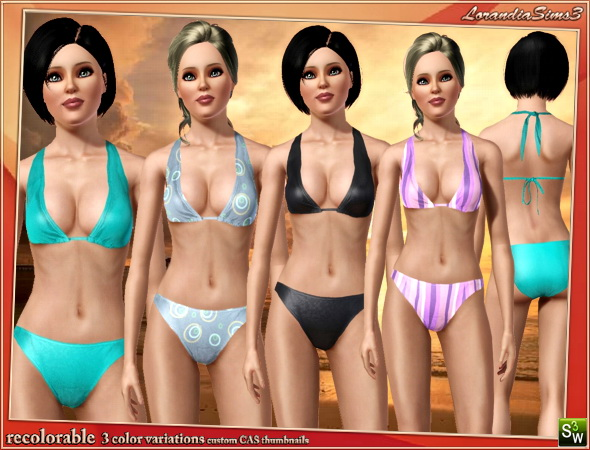2 pieces swimwear in this swimsuit for your sims3 female wardrobe. Recolorable, 4 color variations, custom CAS thumbnails, custom bump.