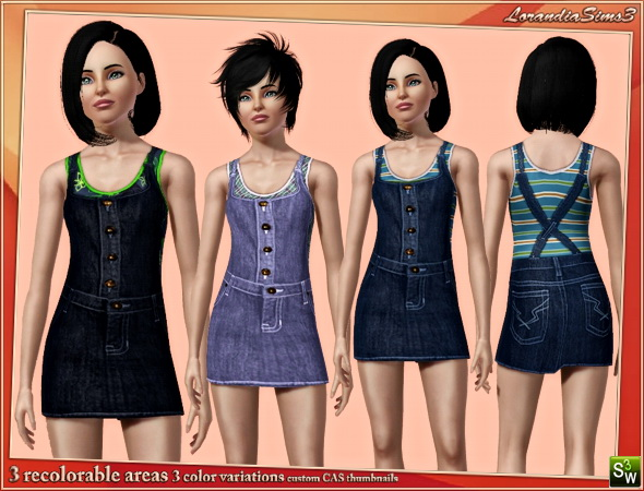 Denim jumper and fitted tank top underneath in this casual outfit for your teen sims 3 female everyday wardrobe. 3 recolorable areas, CAS thumbnails