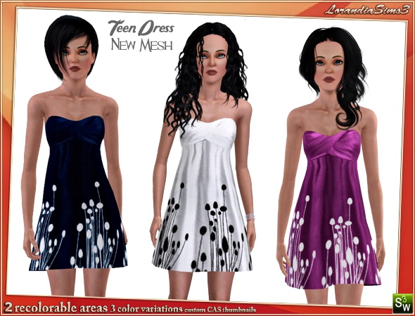 Strapless BabyDoll Dress, new mesh for your sims 3 teen females wardrobe. 3 recolorable areas, 3 color variations, custom mesh by LorandiaSims3
