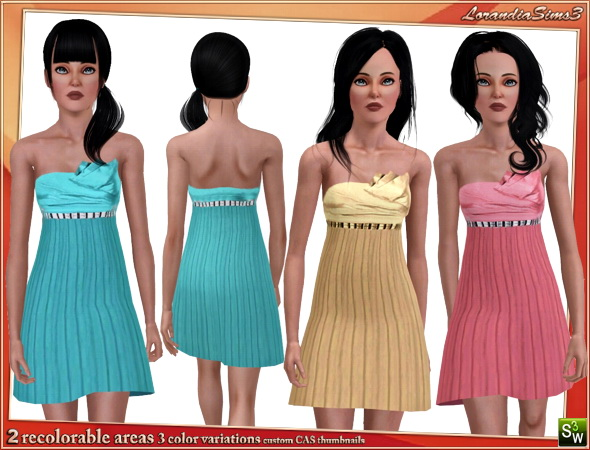 Strapless babydoll dress for your sims 3 teen females wardrobe. 2 recolorable areas, 3 color variations, custom mesh by LorandiaSims3
