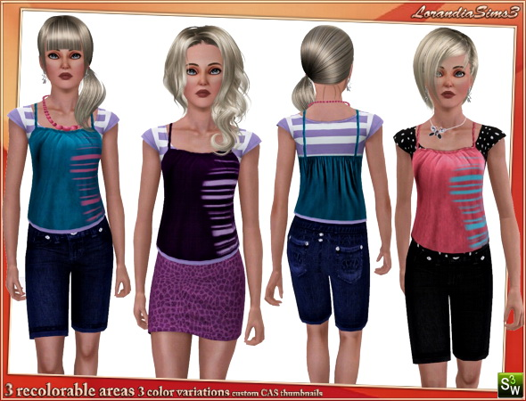 Double layer top for your sims 3 teen female wardrobe. 3 recolorable areas, 3 color variations, custom cas and launcher thumbnails.