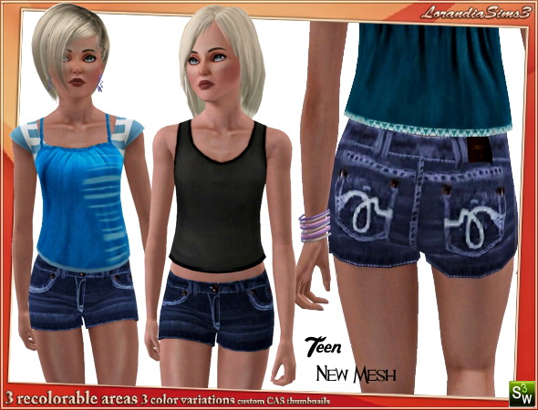 Denim short for your sims 3 teen female sport casual wardrobe. Recolorable, 3 color variations, custom new mesh by LorandiaSims3