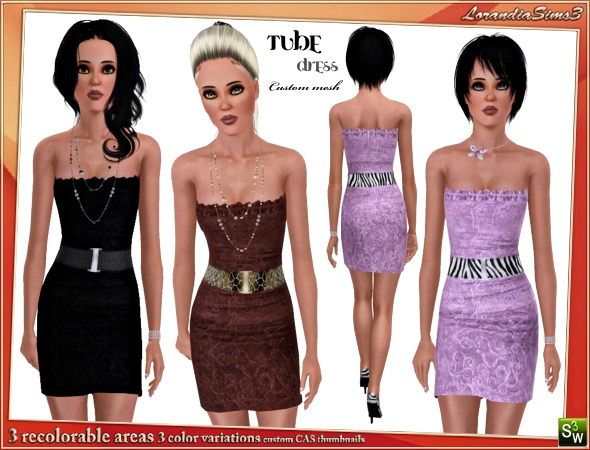 Belted tube dress for your sims 3 female casual and formal wardrobe. 3 recolorable areas, 3 color variations, custom mesh by LorandiaSims3