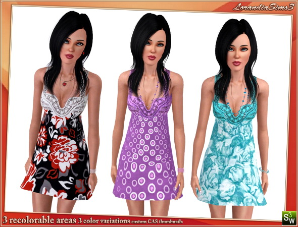 Embroidered babydoll dress for your sims3 female wardrobe. 2 recolorable areas, 3 color variations, custom mesh by LorandiaSims3
