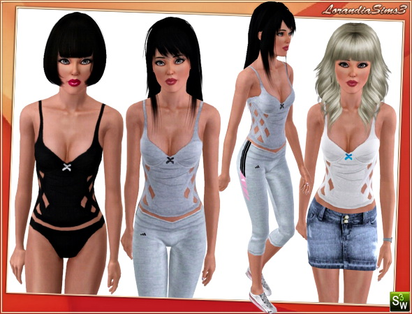 Versatile top for your sims 3 female everyday, athletic, sleepwear and swimwear wardrobe. 3 recolorable areas, 3 color variations