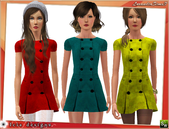 Simple teen coat for your sims 3 teen females everyday wardrobe. Recolorable, 3 color variations, custom thumbnails, custom mesh by Icia23