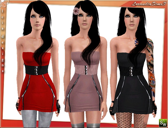 Zippered Dress, casual and formal wear, 3 color variations, 3 channels recolorable , cas and launcher thumbnails, custom mesh by Icia