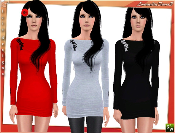 Embroidery dress, casual and formal wear, 3 color variations, 2 recolorable channels , cas and launcher thumbnails, custom mesh by Icia