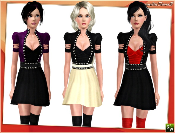Glam rock outfit for your sims 3 females everyday and evening wardrobe. 3 recolorable channels, custom thumbnails, custom mesh by Lorandia Sims3