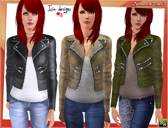 Zippered leather jacket. Casual and formal wardrobe, 4 recolorables palettes, 3 color  variations, custom cas and launcher thumbnails, custom mesh.