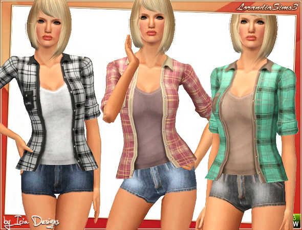 Open shirt, everyday wardrobe, 4 recolorables palettes, 3 recolors in the same pack, custom cas and launcher thumbnails, custom mesh by Icia.