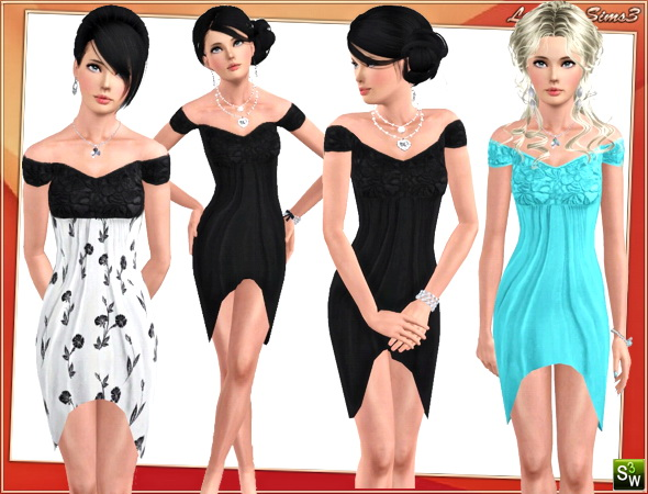 Draped dress for your sims3 females. 2 recolorable areas, 3 color variations, custom thumbnails, new custom mesh by LorandiaSims3