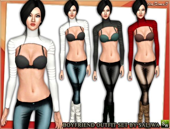 Top with bra - Boyfriend outfit set for your sims 3 females. Recolorable, 3 color variations in the same pack, custom launcher thumbnail