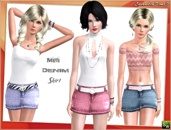 Mini denim skirt for your sims 3 females. 3 recolorable areas, 3 color variations, custom thumbnails, custom mesh by Lorandia Sims3