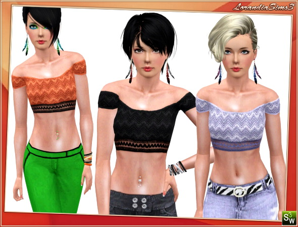 Top for your sims 3 females. 2 recolorable areas, 3 color variations in the same pack, custom cas and launcher thumbnails