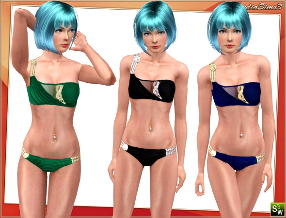 Draped Greek swimwear for your sims 3 females. 3 recolorable areas, 3 color variations in the same pack, custom cas and launcher thumbnails