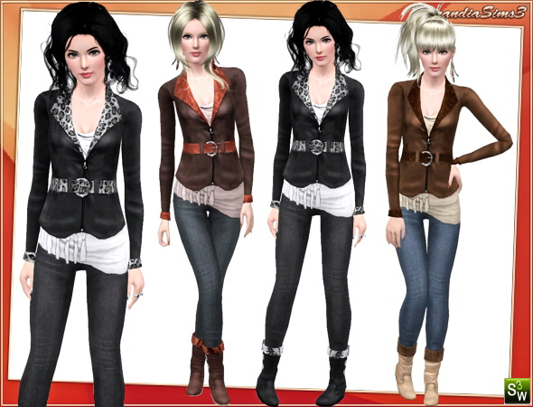 Outfit for your sims 3 females. 4 recolorable areas, 3 color variations, custom cas and launcher thumbnails, custom mesh